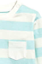 Long-sleeved T-shirt - Light turq/Striped -  | H&M 2